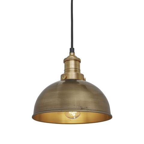 Industville Brooklyn Vintage Small Metal Dome Pendant Light Brass 8 inch