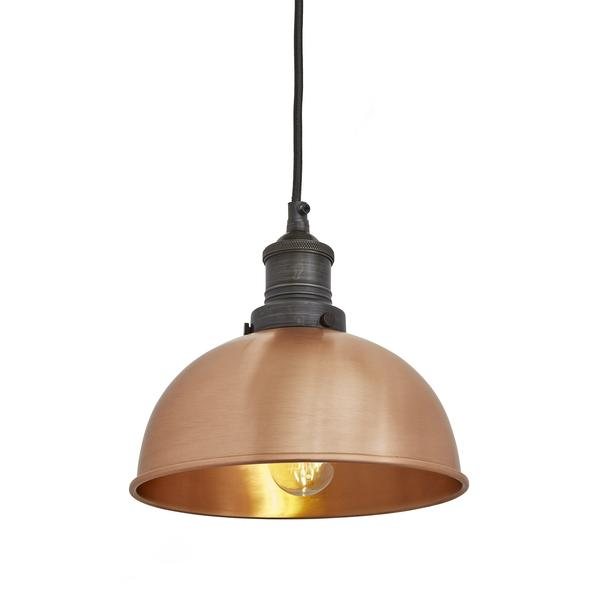 Industville Brooklyn Vintage Small Metal Dome Pendant Light Copper 8 inch