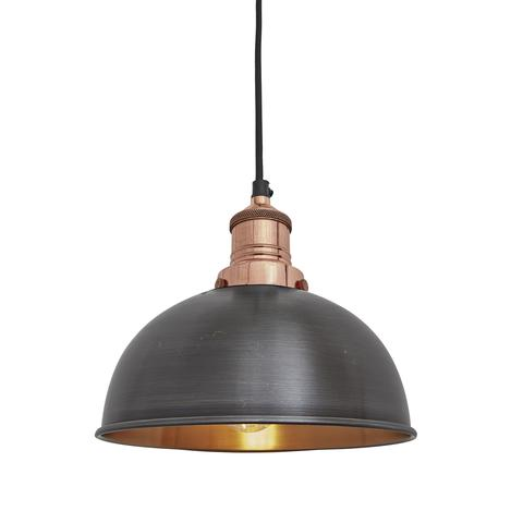 Industville Brooklyn Vintage Small Metal Dome Pendant Light Dark Pewter & Copper 8 inch