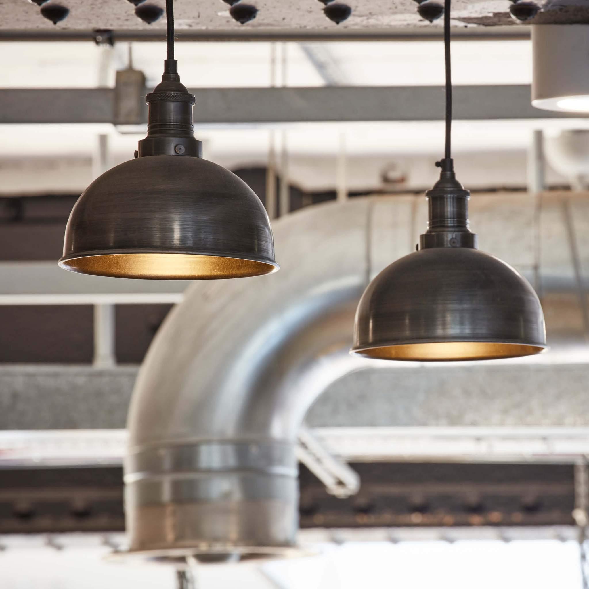 Industville Brooklyn Vintage Small Metal Dome Pendant Light Dark Pewter 8 inch