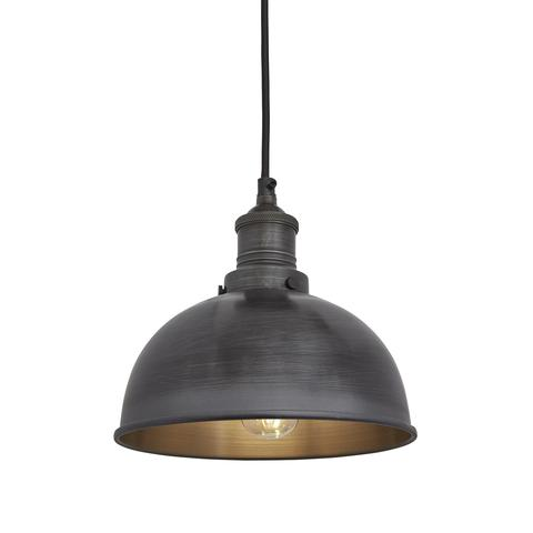 Industville Brooklyn Vintage Small Metal Dome Pendant Light Dark Pewter 8 inch