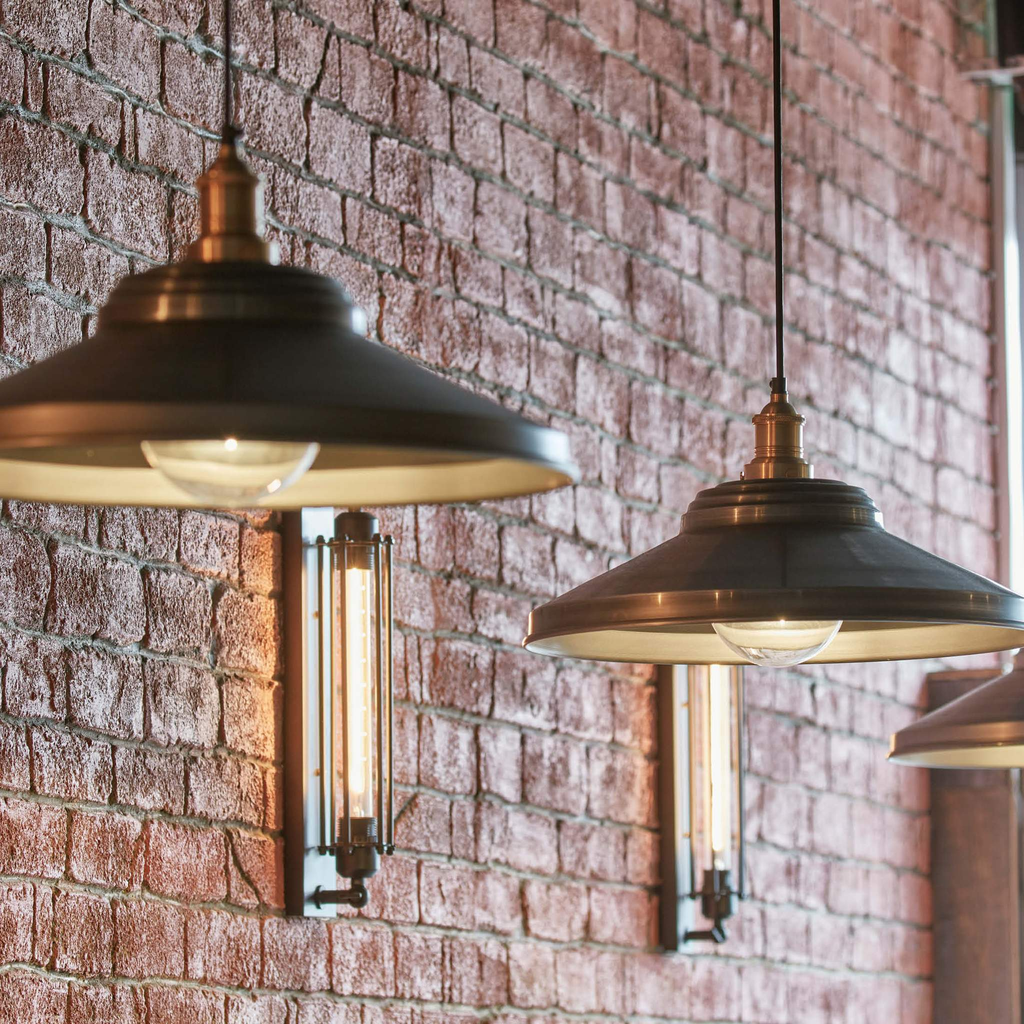 Industville Brooklyn Vintage Giant Step Metal Lamp Shade Pewter 18 inch