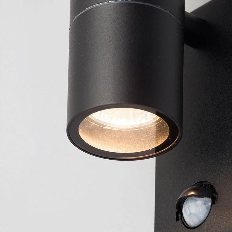 Leto Up/Down Outdoor Wall Light Black PIR