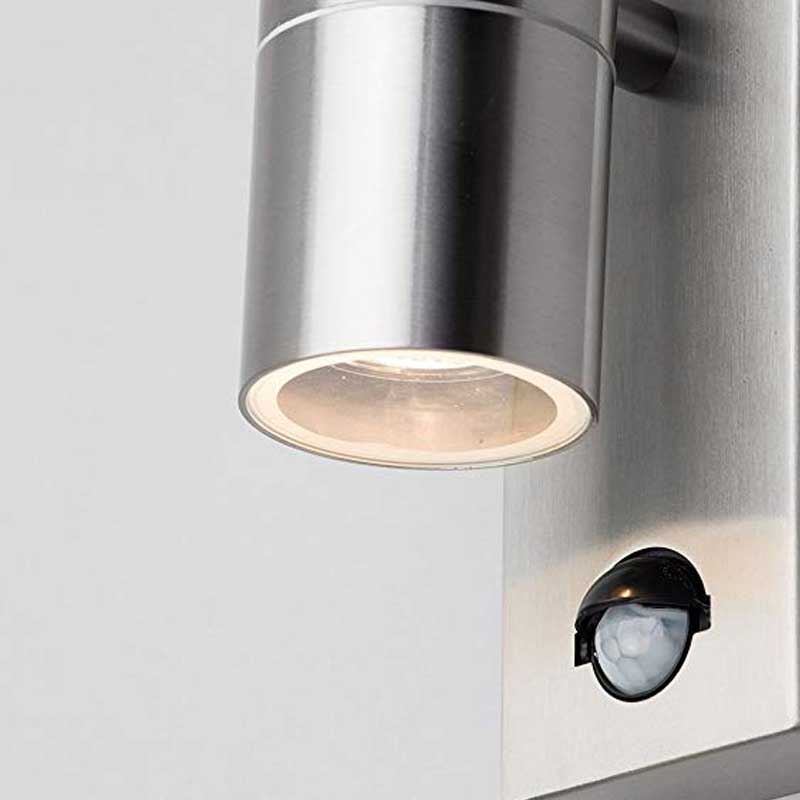 Leto Up/Down Outdoor Wall Light Stainless Steel PIR