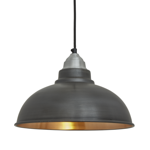 Industville Old Factory Vintage Pendant Light Dark Pewter & Copper 12 inch