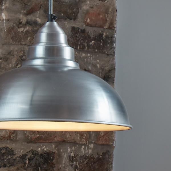 Industville Old Factory Vintage Pendant Light Pale Grey Pewter 12 inch