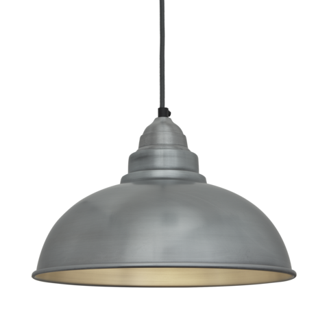 Industville Old Factory Vintage Pendant Light Pale Grey Pewter 12 inch