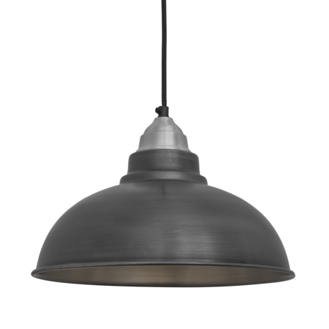 Industville Old Factory Vintage Pendant Light Dark Grey Pewter 12 inch