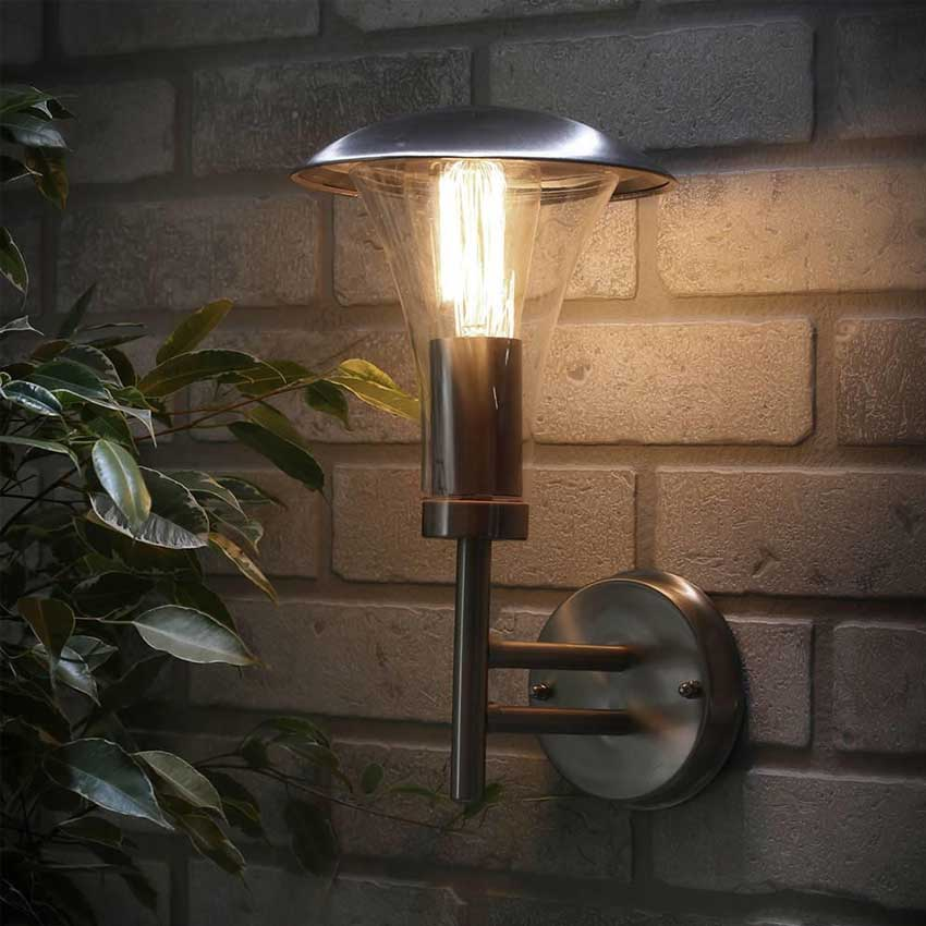 Outdoor Omega Wall Lantern Stainless Steel