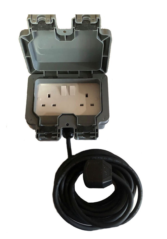Outdoor garden extension lead socket box IP65 Rated with Black Cable